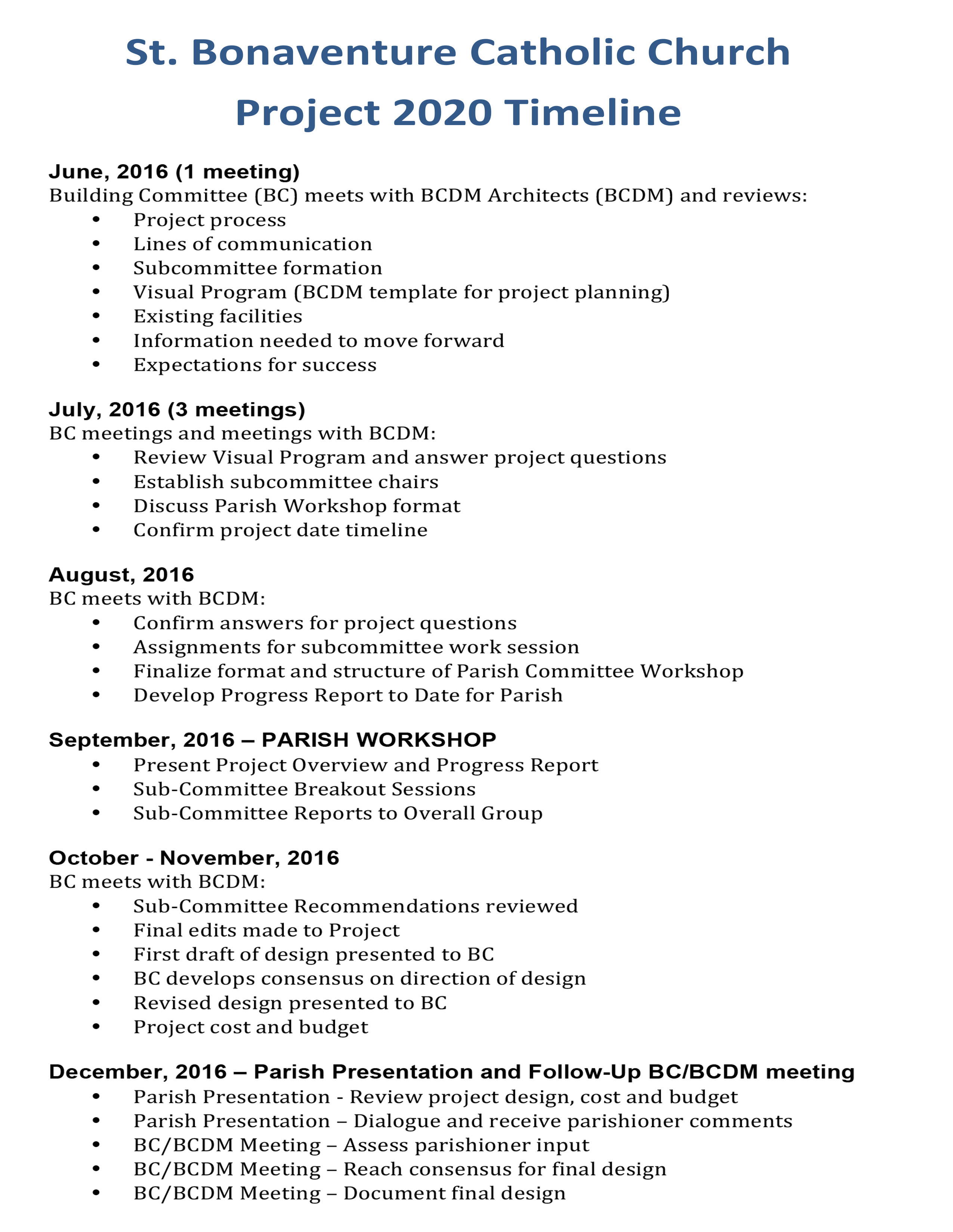 Project 2020 Timeline - Saint Bonaventure Catholic Church